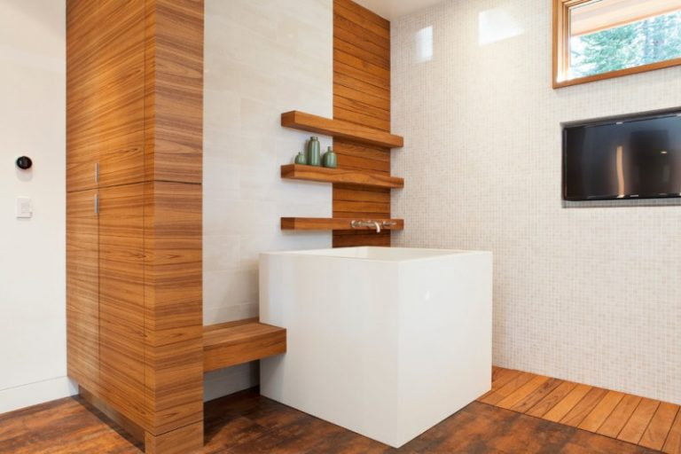 Anese Soaking Tub Small Square Fireplace In Bathroom Wood Paneling Floating Shelves Flooring