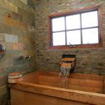 Japanese Soaking Tub Small Wall Mounted Smedbo Shaving Or Make Up Mirror Stone Brick Wall Wooden Bath Tub Window