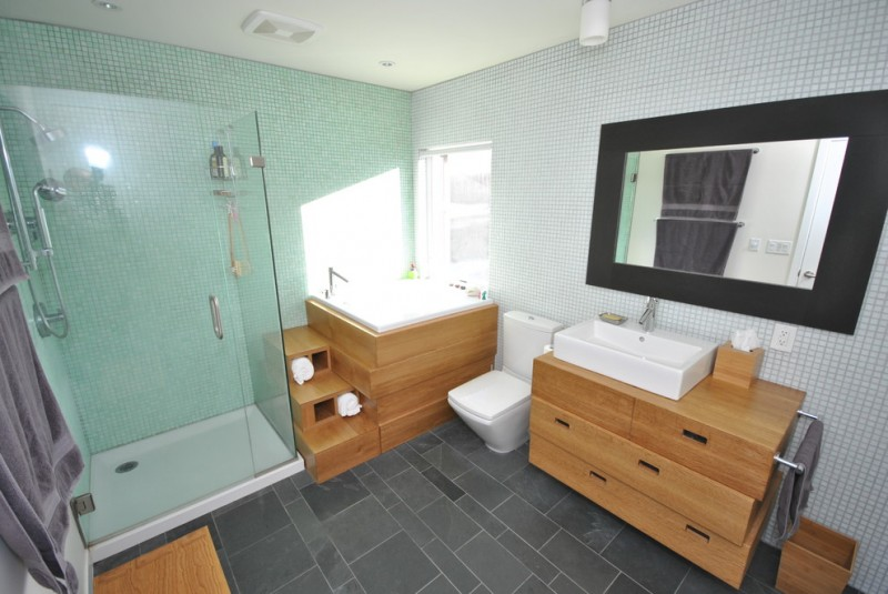 japanese soaking tub small white porcelain vessel sink white porcelain tub gray floor glass shower area big mirror