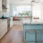 Kitchen Ideas For Small Kitchens On A Budget Classic Chain Pendant Extended Reach Pulldown Kitchen Faucet Vapor Bar Stool White Oak Floor