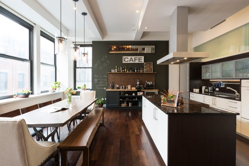 kitchen remodeling nyc chairs long table bench big windows hardwood floor decorative plant contemporary style room