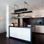Kitchen Remodeling Nyc Dark Floor Clock Lamp Ceiling Lights Fridge Sink Faucet Plates Modern Room