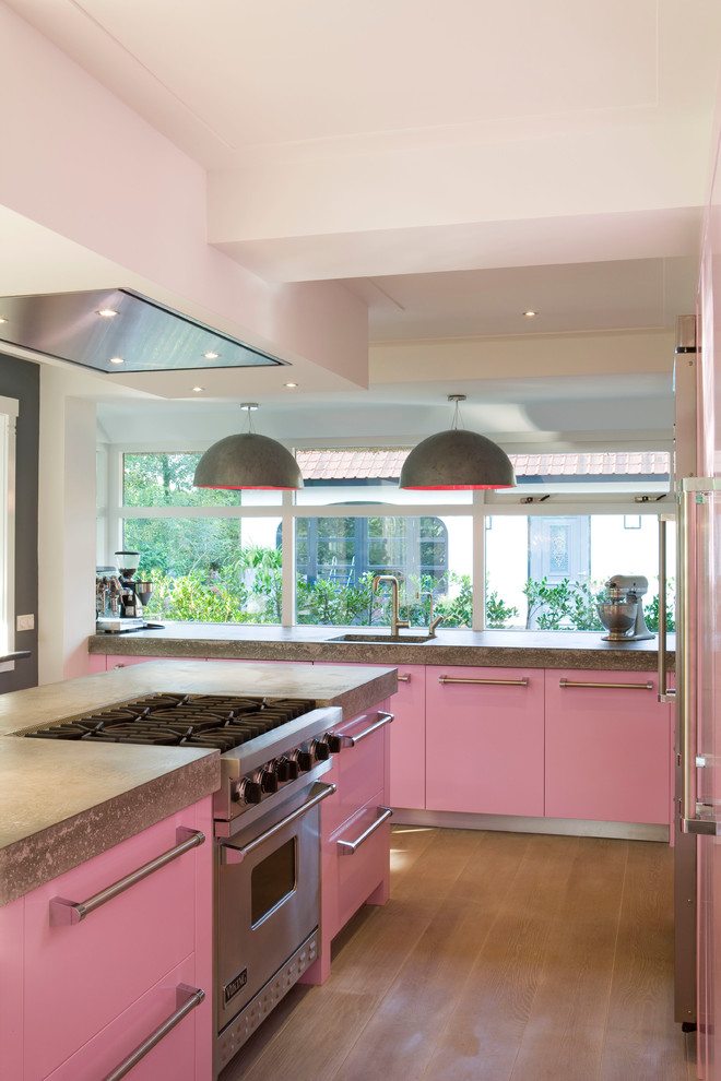 kitchen remodeling nyc pink storage items stove windows ceiling lights lamps sink faucet modern room