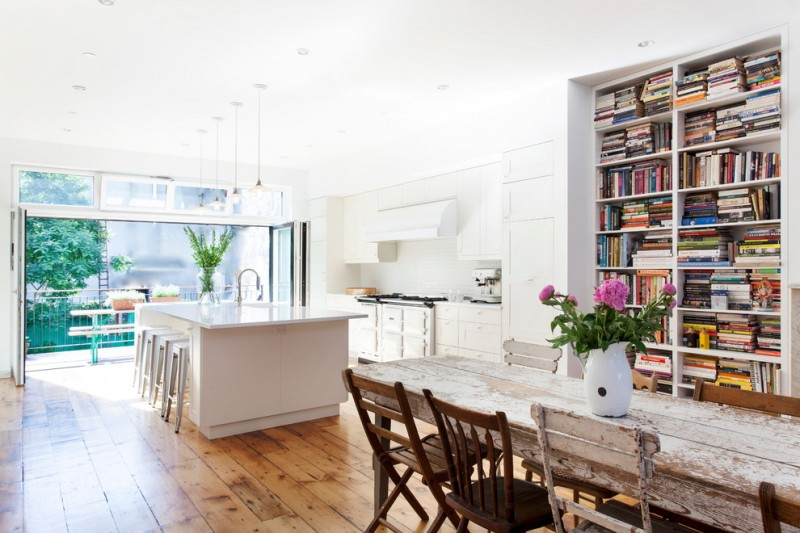 kitchen remodeling nyc stools chairs table bookshelves books lamps flowers wall cabinets contemporary room