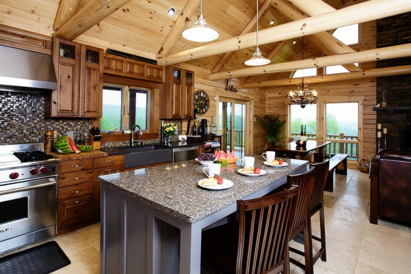 kitchen remodeling nyc stove table bench chairs backsplash sink faucet windows wall cabinets lamps rustic room chandelier