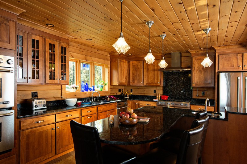 kitchen remodeling nyc wooden ceiling wood floor wall cabinets window wooden walls faucet sink hanging lamps rustic room