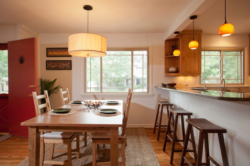 kitchen table sets ikea carpet wood floor stools chairs hanging lamps windows faucet contemporary kitchen