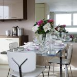 kitchen table sets ikea chairs glass top table flowers wall cabinet window glasses contemporary dining room