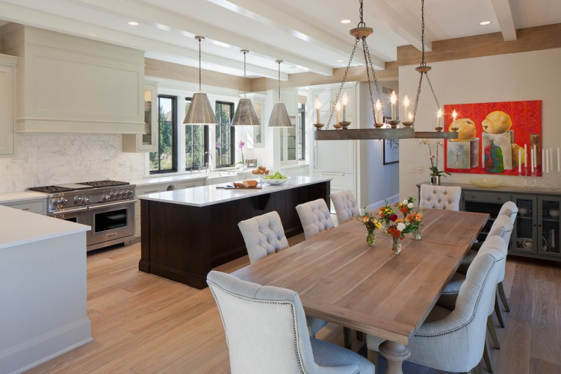 kitchen table sets ikea hardwood floor chairs flowers chandelier stove island pendant lights cabinets transitional room
