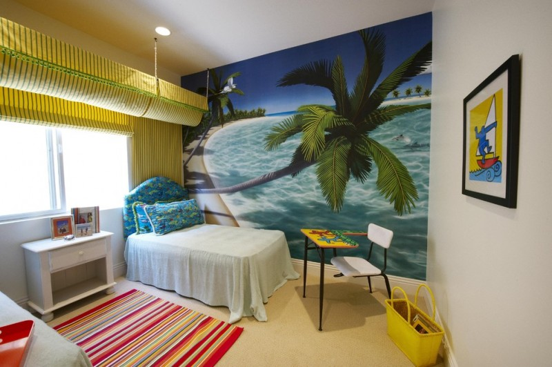 large wall to wall beach photo island style gender neutral bright colored school desk yellow shades cream colorful rugs