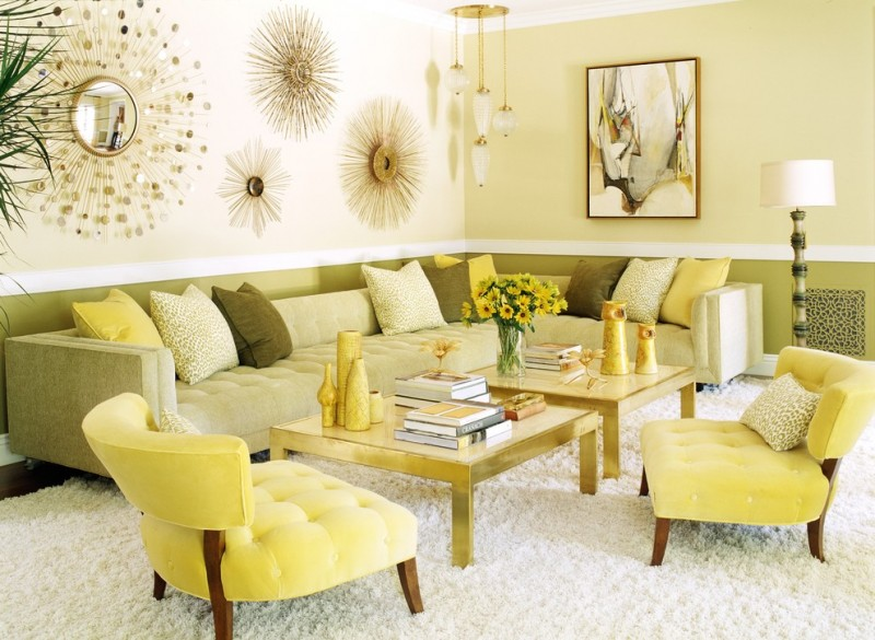 light yellow green walls idea with decorative mirrors green modern couch with accent pillows two yellow chairs large white area rug