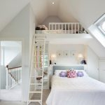 Loft Beds For Teenage Girls White Bedroom Ceiling Window Traditional Bedroom Colorful Pillows High Rectangular Mirror