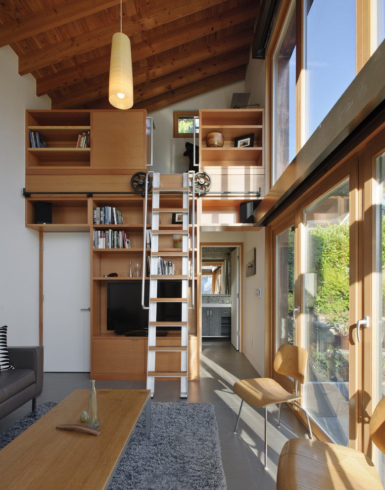 loft ladder ideas movable stairs sofa wood table chairs bookshelves flat tv long pendants carpet decorations double glass doors contemporary design