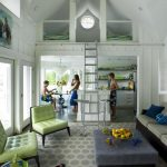loft ladder ideas wall nooks round table white cabinets tufted chairs sofa ottoman stools chandelier beach style