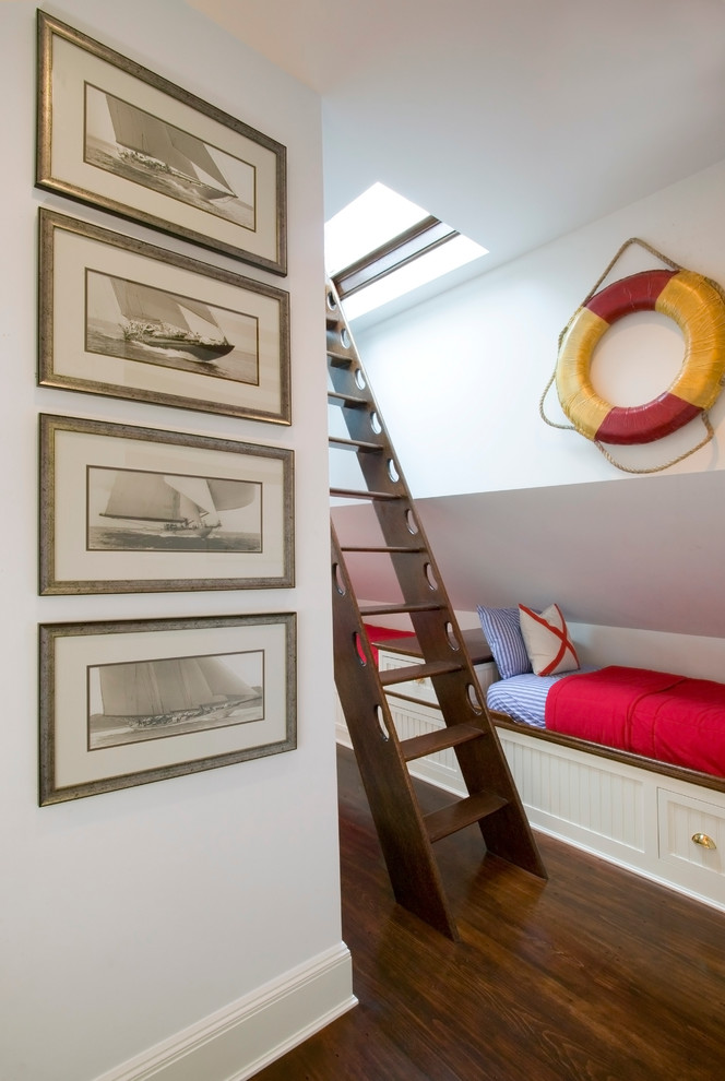 loft ladder ideas wall painting nautical decoration bed built in storage drawers hardwood floors wood stairs pillows traditional design