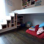 Lofted Bed Book Storage Reading Nook Storages On The Stairs Dark Brown Wood Floor Large Window