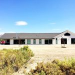 Luxury Ranch House Plans Gable Roof White Exterior Double Glass Doors Windows Farmhouse Design