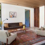 Mid Century Furniture Los Angeles Armchairs Sofa Narrow Table Large Windows Ceiling Lights Midcentury Design