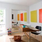 Mid Century Furniture Los Angeles Freestanding Desk Chair Carpet Mirrored Door Window Wall Hardwood Floor Midcentury Design