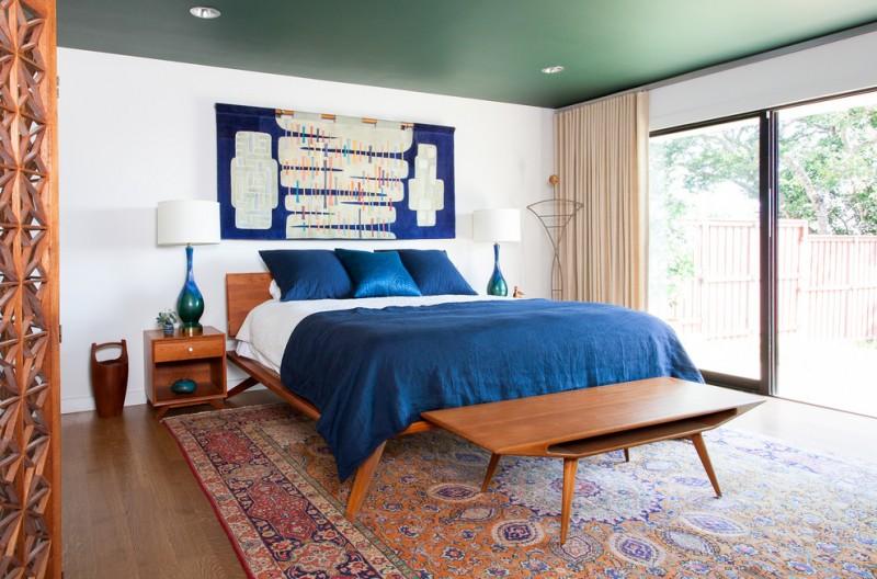 mid century furniture los angeles side table hardwood floors desk bed rug lamps ceiling lights wall decorations glass panels midcentury design