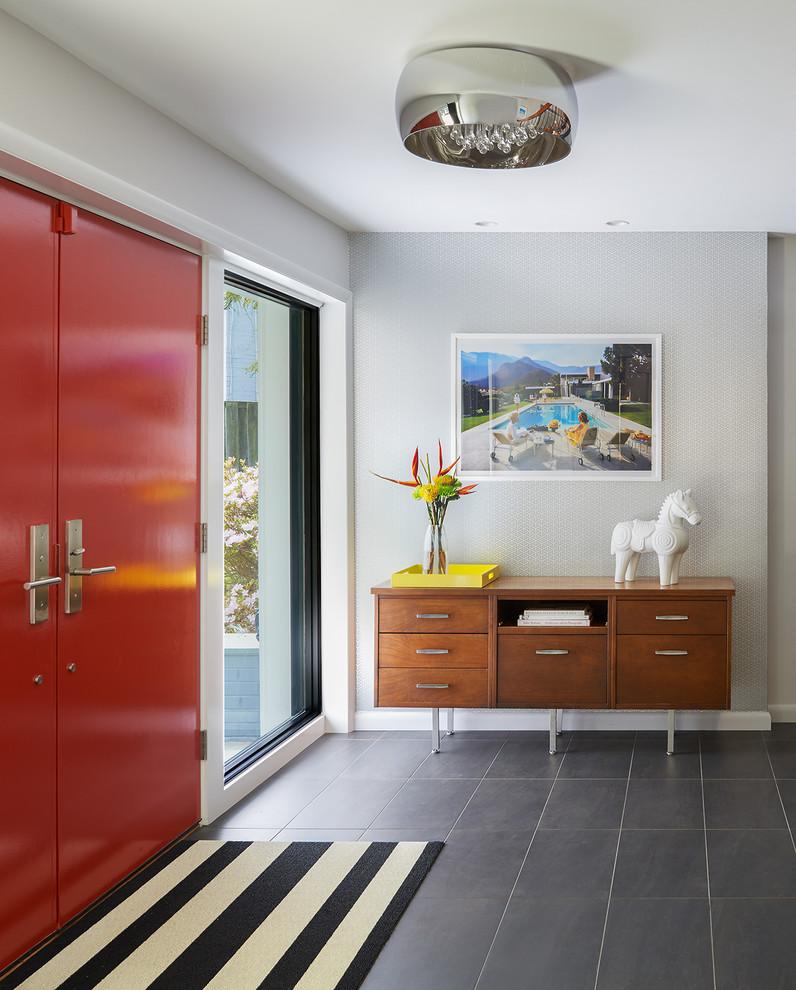mid century furniture los angeles sideboard double red doors rug ceiling lamp painting ceramic floors midcentury design