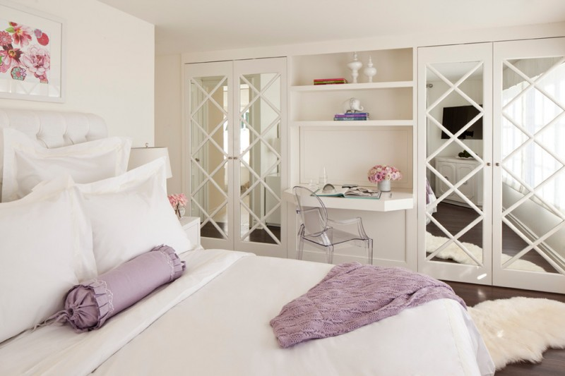 mirrored French closet decorated doors master bedroom glass chair wall art cream wall and ceiling hard wooden floor white cabinet
