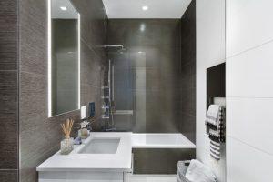 modern bathroom walk in shower tub combo unique faucet porcelain floor light mirror towel hanger