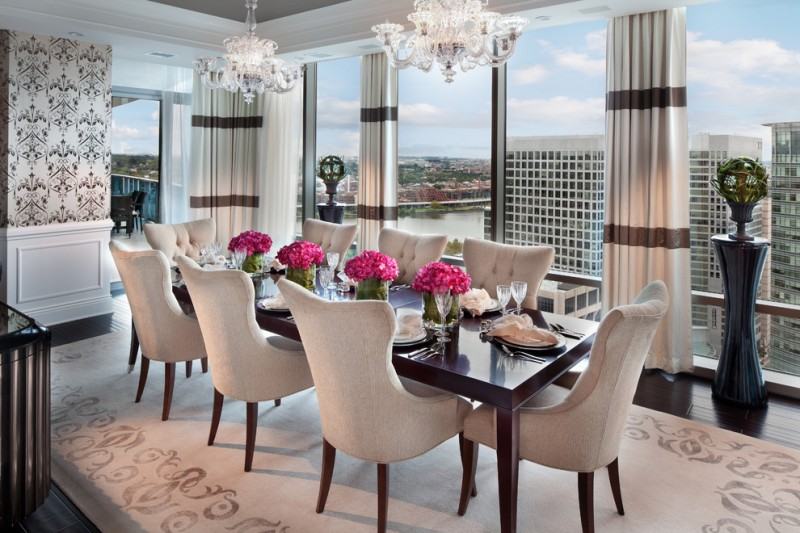 modern formal dining room set carpet dark floor long table chairs flowers curtains chandeliers glass scenery