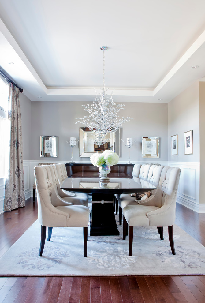 modern formal dining room set carpet tufted chairs modern table flowers chandelier window curtain transitional style
