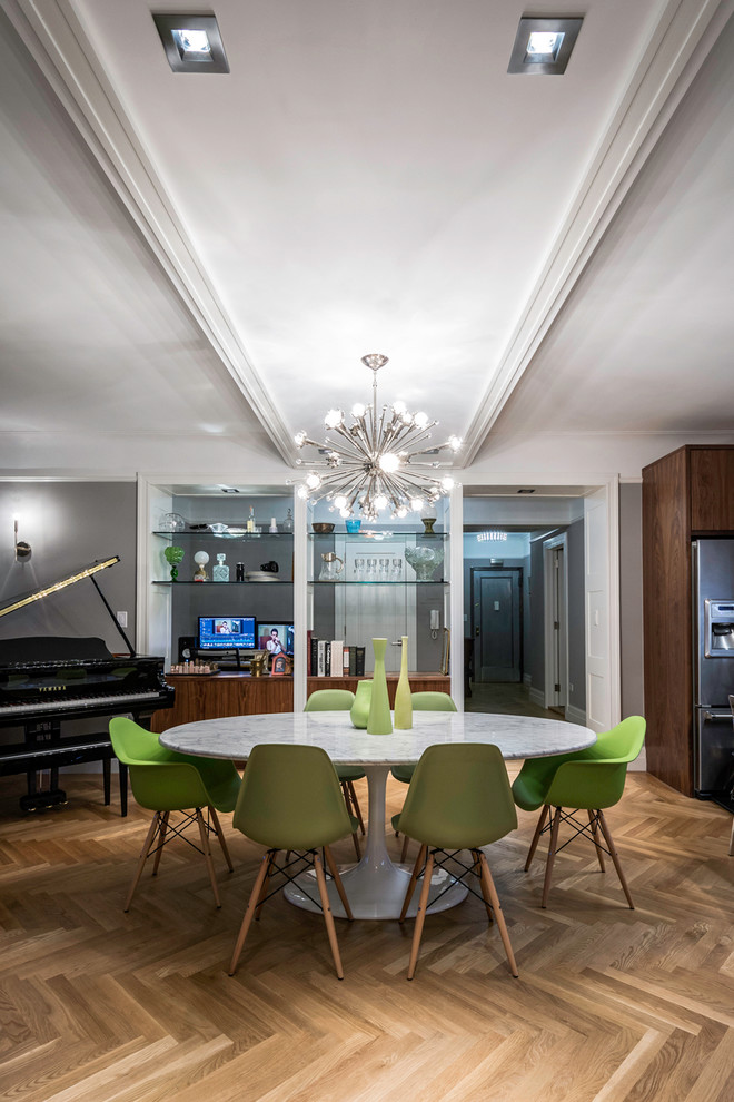 modern formal dining room set cool floor round top table green chairs chandelier piano contemporary style