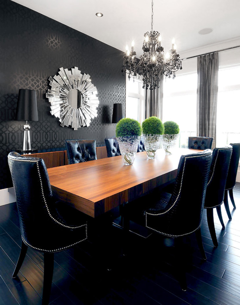 modern formal dining room set dark floor black chairs brown table lamps chandelier mirror decorative plants curtain contemporary style