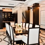 Modern Formal Dining Room Set Interesting Floor Chairs Table Chandelier Flowers Ceiling Lights Contemporary Style
