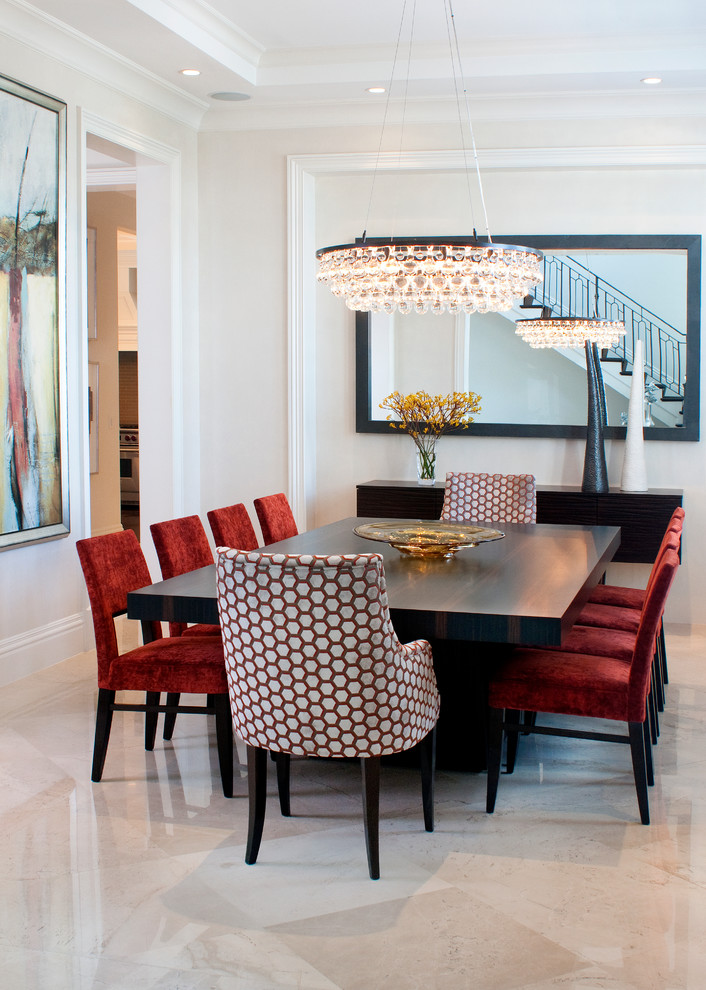 modern formal dining room set light coloured floor chairs table chandelier painting contemporary style