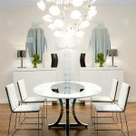 Modern Formal Dining Room Set Wood Floor Cool Mirrors Chandelier Table Chairs Lamp Contemporary Style