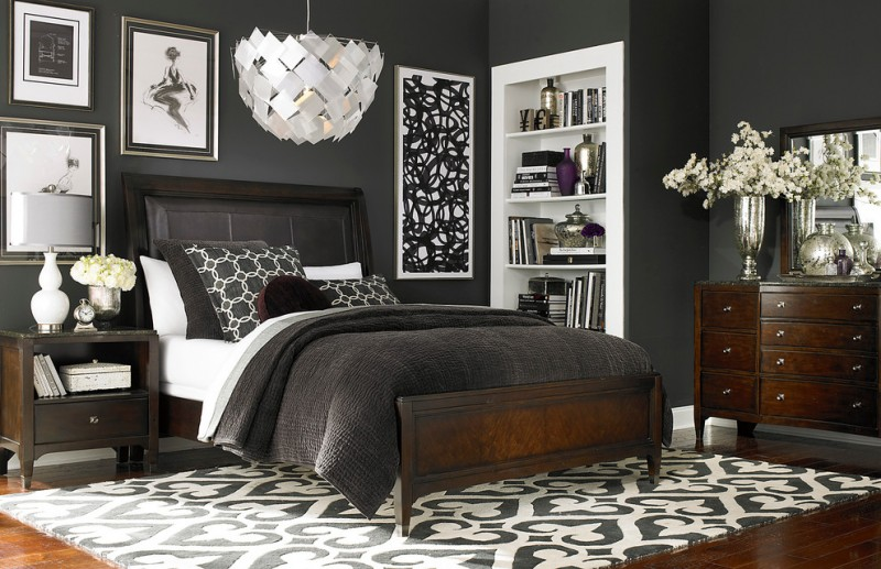 modern king size bedroom sets cosmopolitan landscape mirror dresser leather sleigh bed nightstand zuna rug