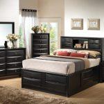 Modern King Size Bedroom Sets Fairview Platform Storage Bedroom Set With Drawers Brown Soft Rug Black Bed Cabinet