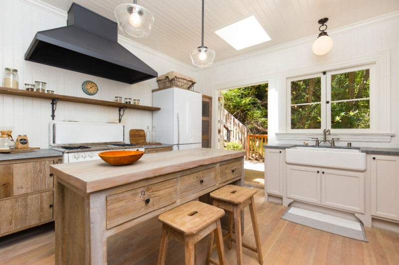 modern rustic kitchen island with additional drawer units and wood chairs shabby but cool wood kitchen cabinets single wood shelf over countertop white cabinets with farmhouse sink