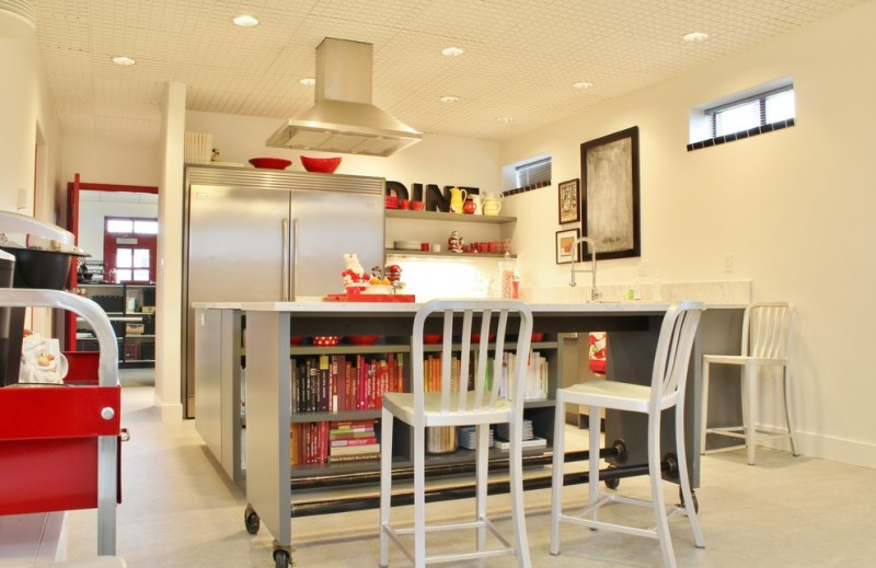 movable kitchen island chairs shelves books ceiling lights faucet industrial style room