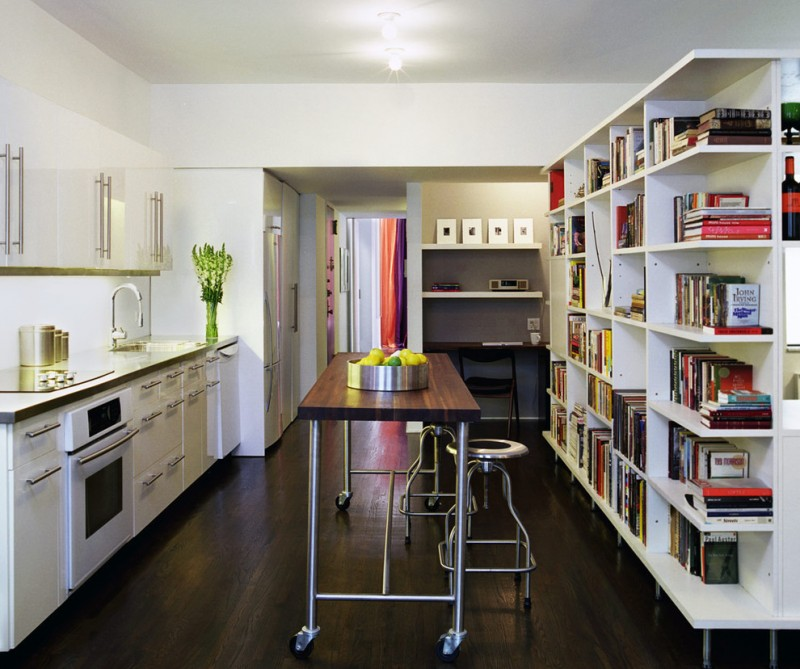 movable kitchen island with seating bookshelves books stools dark hardwood floor faucet sink cabinets chair modern style room