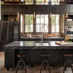 Movable Kitchen Island With Seating Brick Walls Windows Pillar Stools Faucet Sink Hanging Lamps Ladder Industrial Style Room