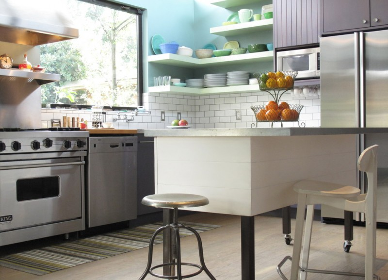 movable kitchen island with seating chair stool stove big window fruits shelves plates fridge cabinet contemporary style room