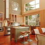 Movable Kitchen Island With Seating Chairs Window Wall Cabinets Stove Faucet Lamps Windows Modern Room