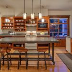 Movable Kitchen Island With Seating Stools Shelves Cool Hanging Lights Stove Window Sink Faucet Traditional Style Room