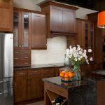 Natural Cherry Kitchen Cabinets Quartz Countertop Cherry Wide Rail Shaker Orange Chandelier Marble Countertop