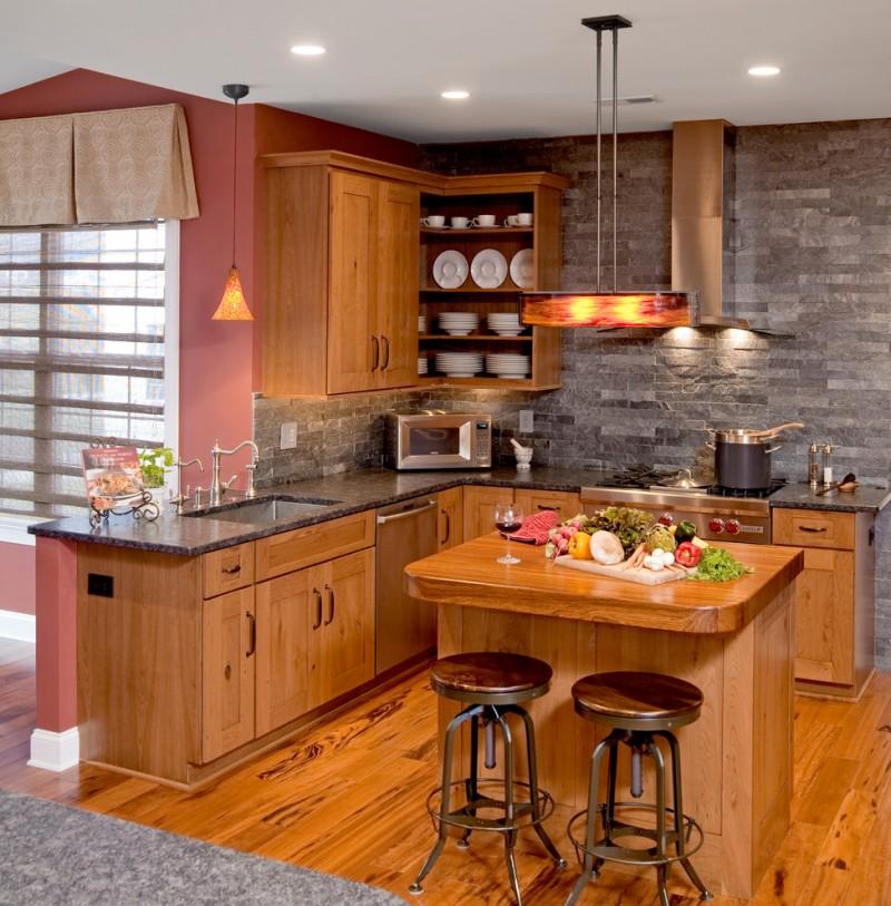 natural cherry kitchen cabinets rustic eclecticism kitchen cone pendant victorian kitchen faucet single bowl kitchen sink