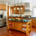 Natural Cherry Kitchen Cabinets Surfers End Kitchen Black Andes Honed Granite Brazilian Cherry Floors Chrome Polished Wall Mount Pot Filler