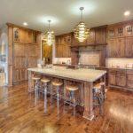 Natural Cherry Kitchen Cabinets Unique Kitchen Chandelier Wood Flooring Soft Ceiling Lamp Traditional Kitchen Cabinet