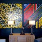 Navy Blue Wall Painting Idea Two Abstract Hand Paintings With Colorful Hues Non Finished Wood Console Table White Sculptures