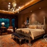 Ornate Bedroom Furniture Carpet Wood Floor Lamps Table Ceiling Lights Bed Pillows Mediterranean Room Windows Chandelier