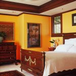 Ornate Bedroom Furniture Ceiling Fan Lights Fan Window Bed Carpet Wooden Cabinet Wall Painting Drawers Tropical Design